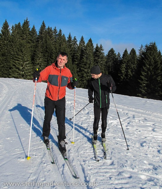 Pete and Michael cross country skiing in the Black Forest