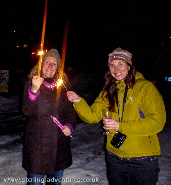 Rebecca and Laetitia with New Year sparklers
