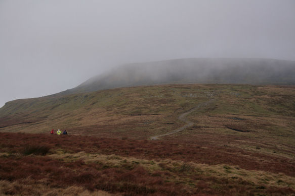 Our route up Ingleborough, with the summit in the cloud
