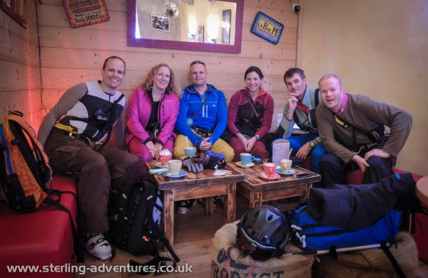 The gang (Mathias, Rebecca, Richard, Laetitia, Pete, and Jon) enjoying a coffee waiting for our number on the Aiguille du Midi lift