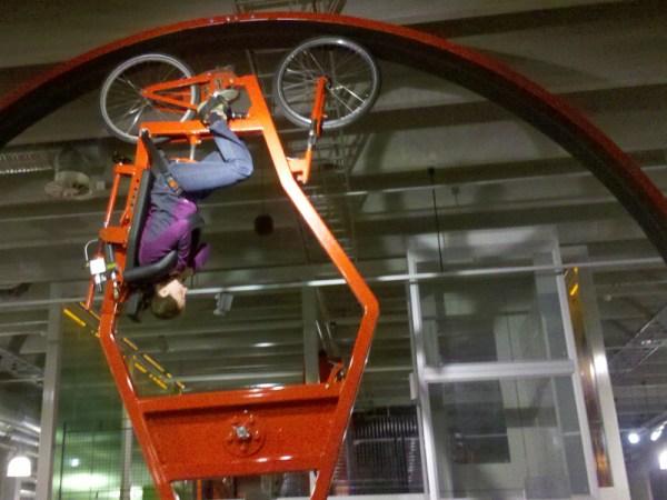 Rachel loops-the-loop on the centrifugal bike!
