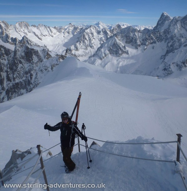 Mathias excited by the prospect of a champagne powder descent of the Vallée Blanche