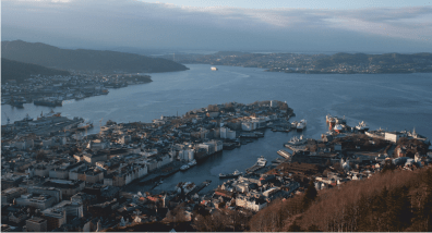 Looking down at Bergen from the top of Mt Fløyen.