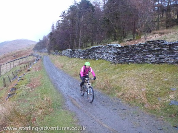 Laetitia on the fast, and much improved, Garburn Pass descent