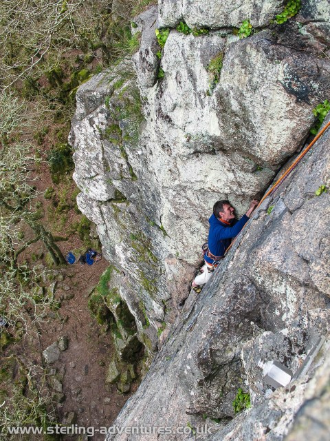 Pete following the fine Central Groove of the Dewerstone