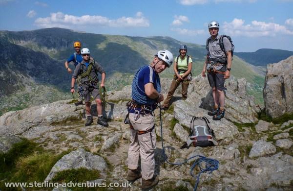Scrambling and short roping skills on the north ridge of Tryfan