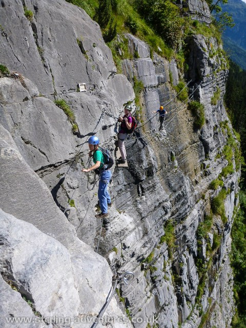 Most of the via ferrata is a long traverse of the cliff face above Passy