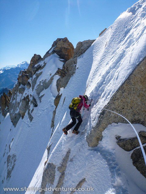 Laetitia making a tricky move on the Forbes Arête of the Aiguille du Chardonnet