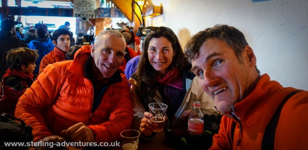 Ian, Laetitia, and Pete on a hot-chocolate break