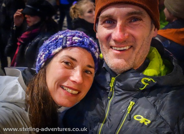 Laetitia and Pete celebrating in the madness that is Chamonix town centre on New Year's Eve