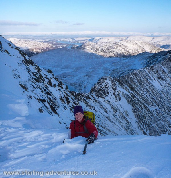 Laetitia topping out on Nethermost Gully