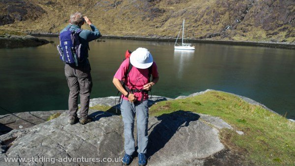 David and Clare leaving our anchorage off Lock Coruisk on Skye