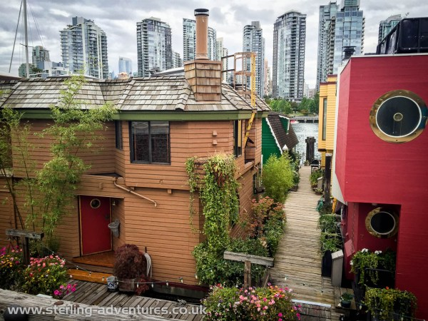 River boat houses at Vancouver's fun tourist destination, Granville Island