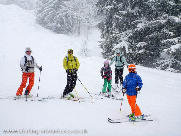 Laetitia skiing with family Roberts: Baz, Anna, Eadaoin, and Sophie