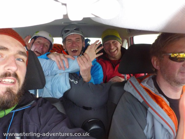 How to get six climbers and gear in to a small hire car!