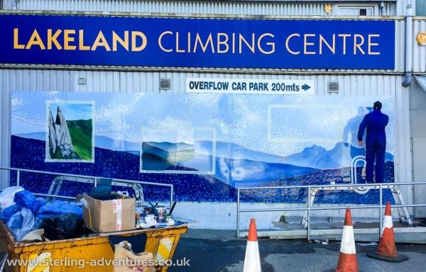 Steve working hard on the Lakeland Climbing Centre logo