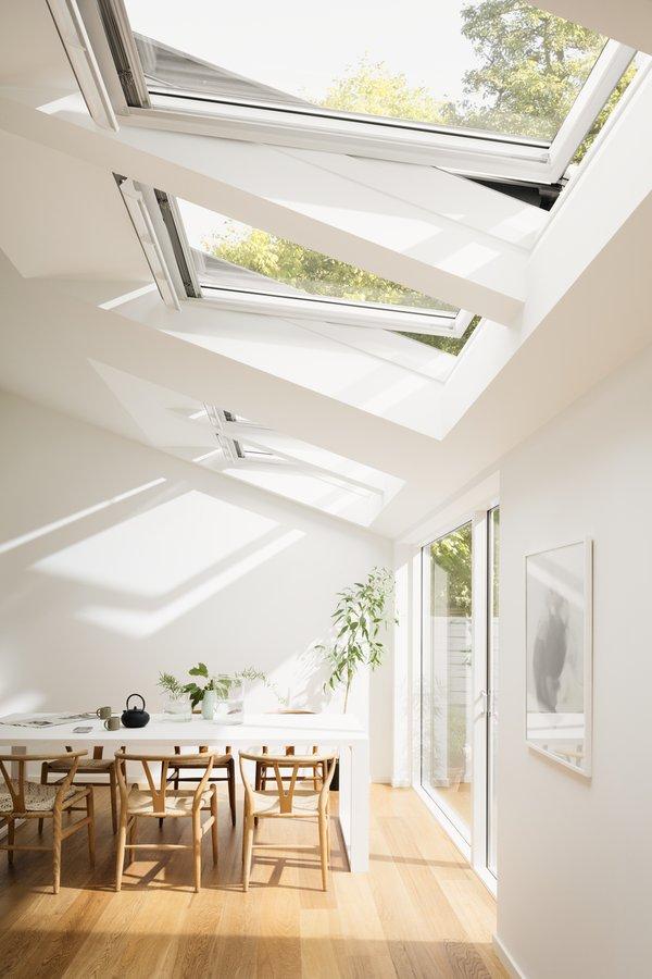 velux ggl ck02 2068 white paint triple glazed rain noise reduction centre pivot window 55x78cm