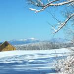 The view of the Alfond Draft Horse Barn and Mount Mansfield from the Library's reading room.