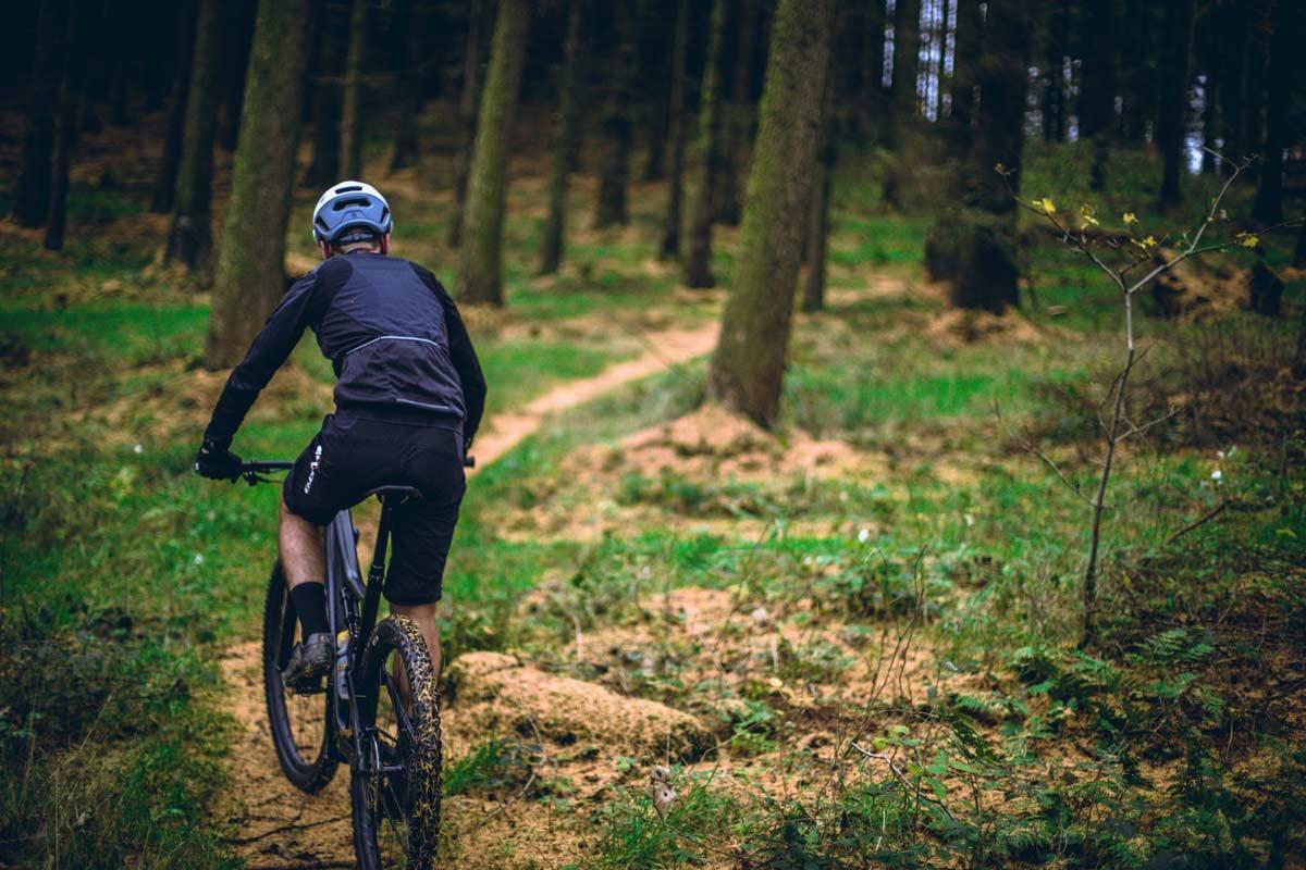 biking in the woods of Vermont