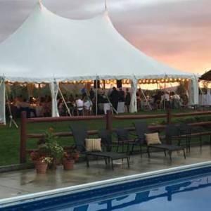Wedding tent at dusk | Sterling Ridge Resort