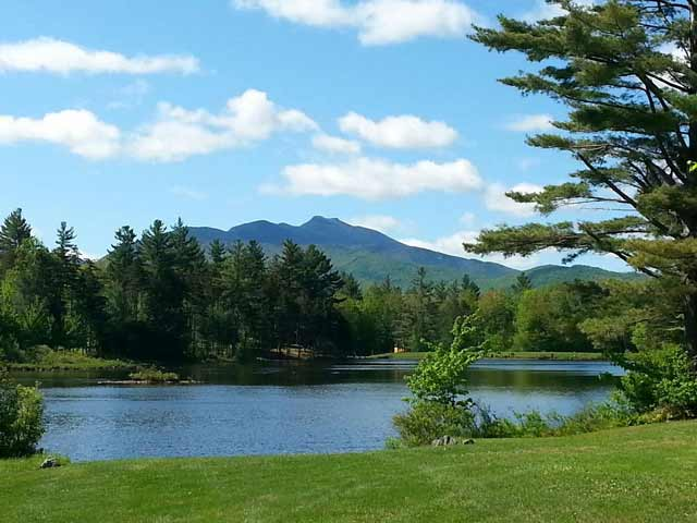 Sterling Ridge Pond with view of Mt Mansfield Vermont