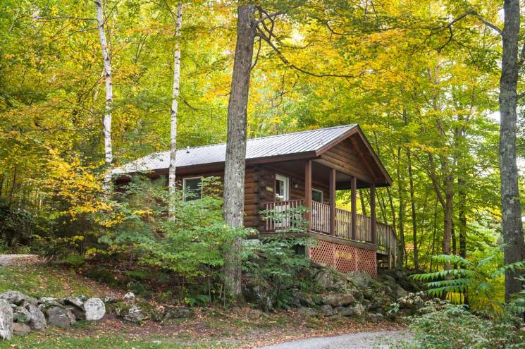 Exterior of a studio cabin during late summer | Sterling Ridge Log Cabin Resort