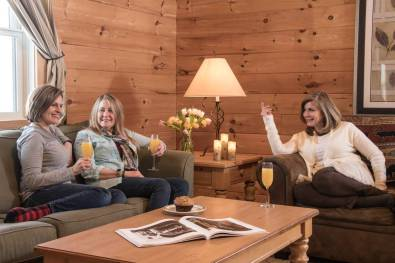 Living room with comfy sofas and women drinking wine
