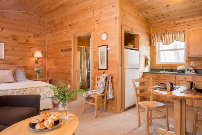Interior of studio log cabin with open living space | Sterling Ridge Resort