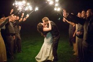 outdoor wedding sparklers