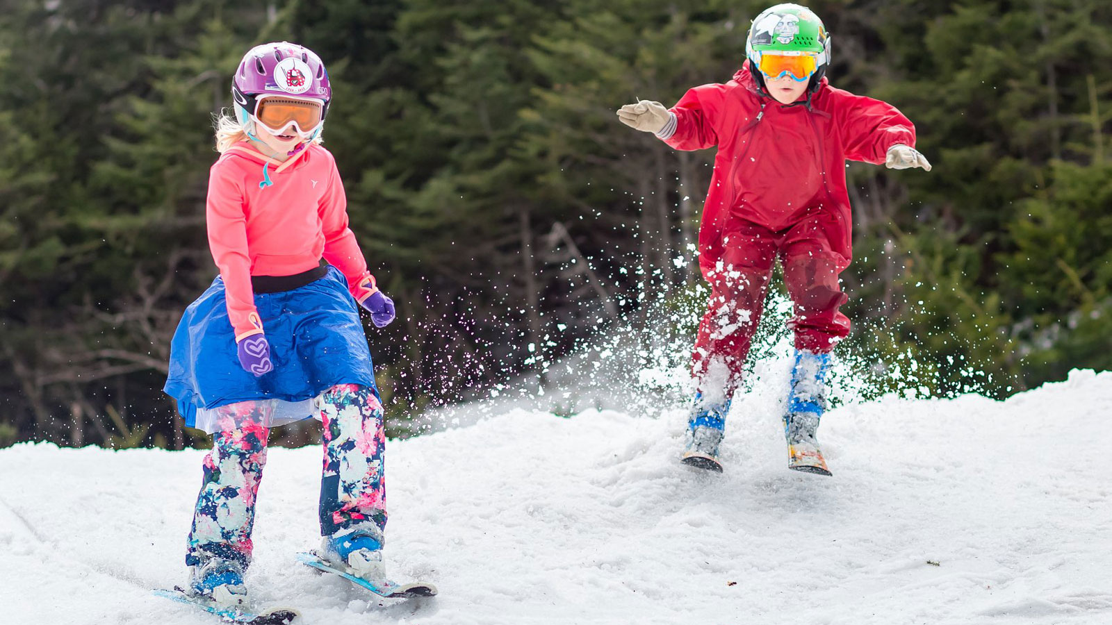 spring skiing in vermont - two children skiing