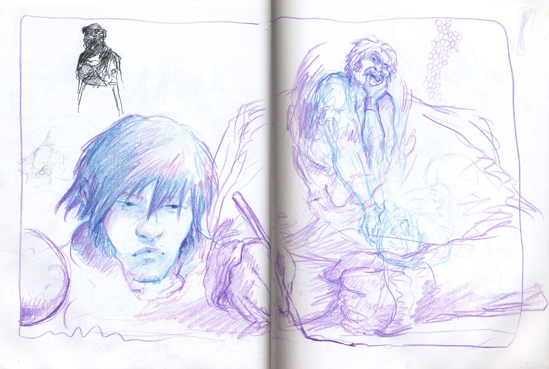 drawing party, sketchbook drawing