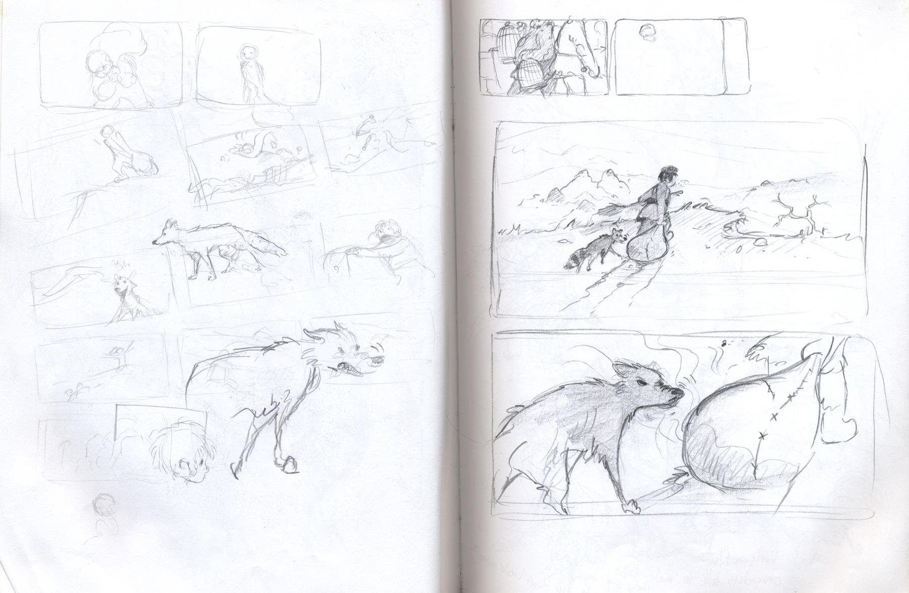 sketchbook drawing wolf
