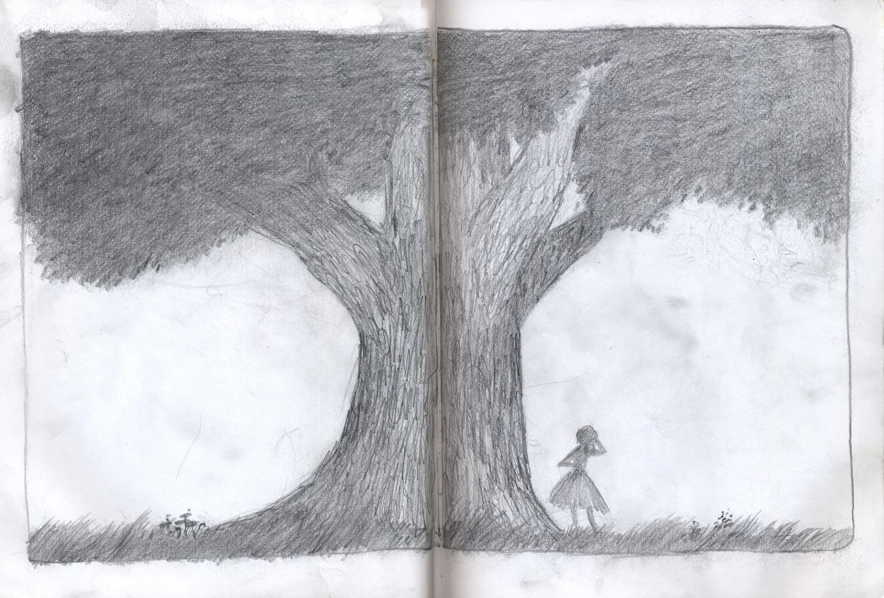 sketchbook drawing tree girl
