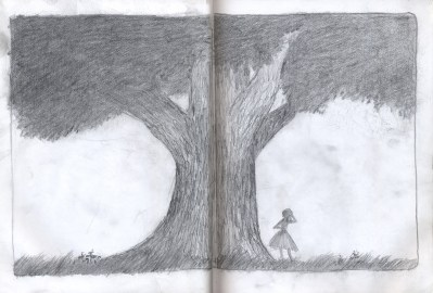 sketchbook drawing tree girl