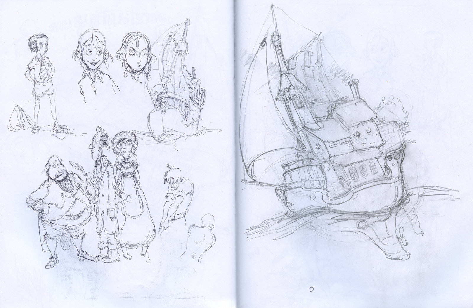 sketchbook drawing ship