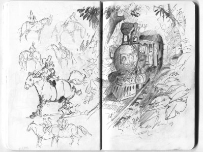 train and weird horses, fat horse, long horse, train, jungle, tunnel