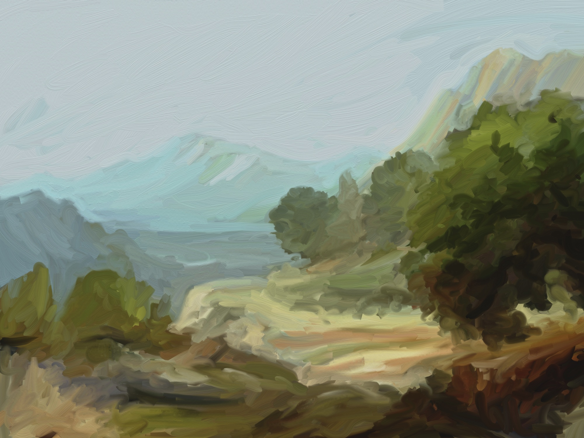 artrage digital oil mountain road thumbnail