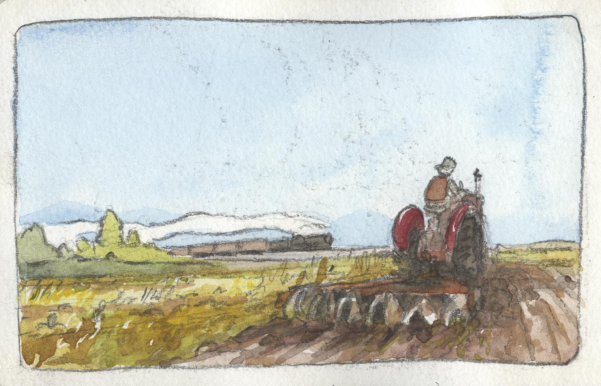 train across a field