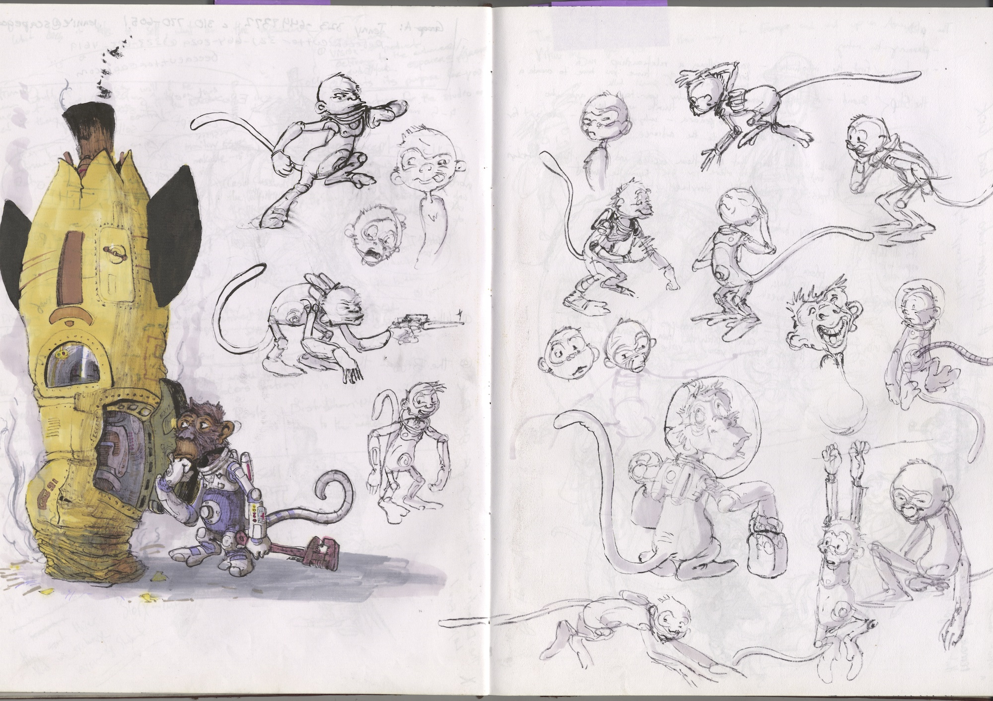 early space chimp doodles