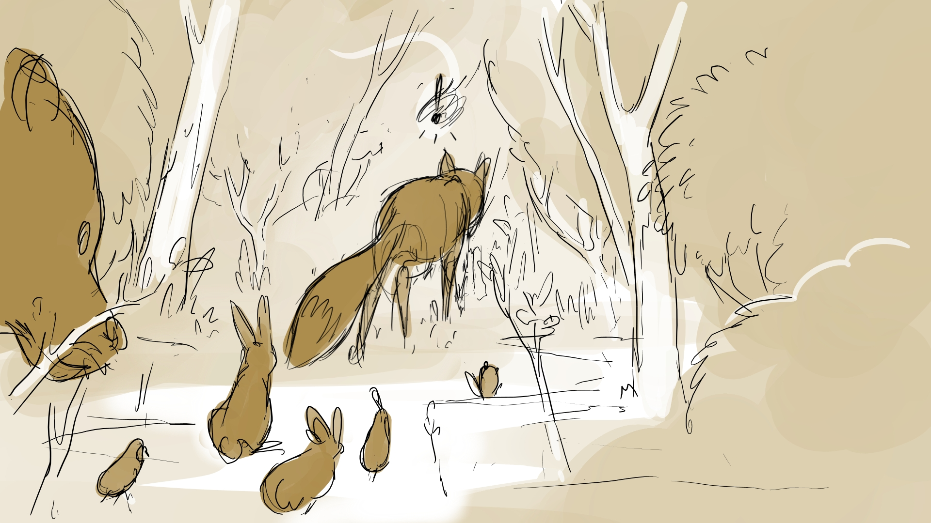 into the brush