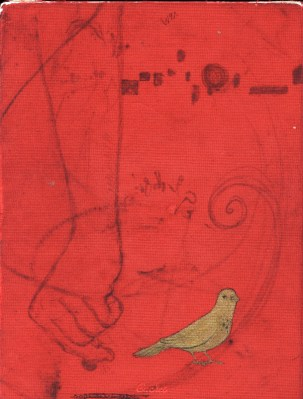red fabric gold bird sketchbook