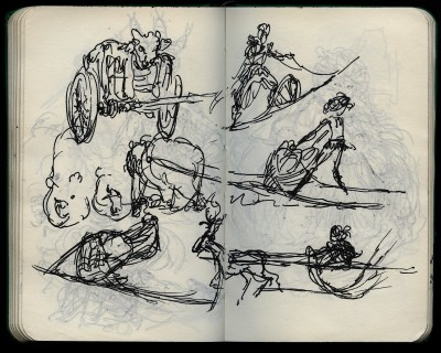 wagons, chariots and sleds