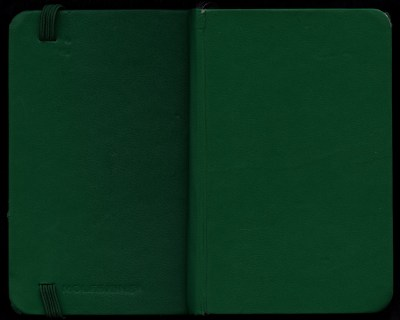 Green moleskin sketchbook