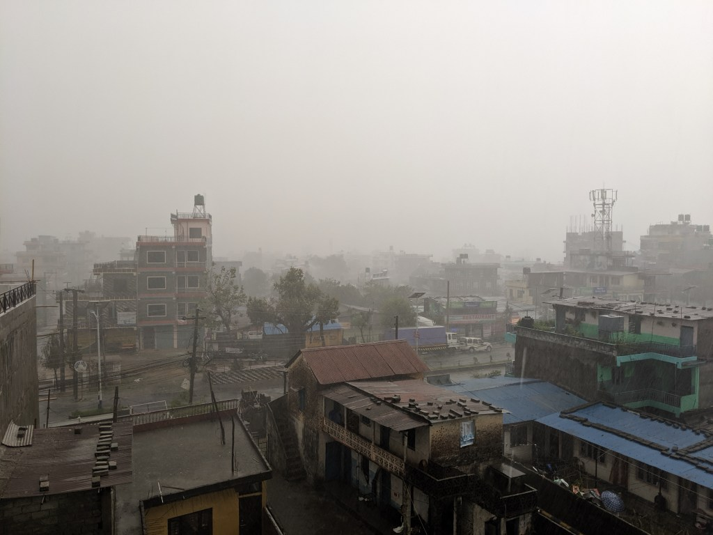 View from our balcony in Pokhara during the daily monsoon