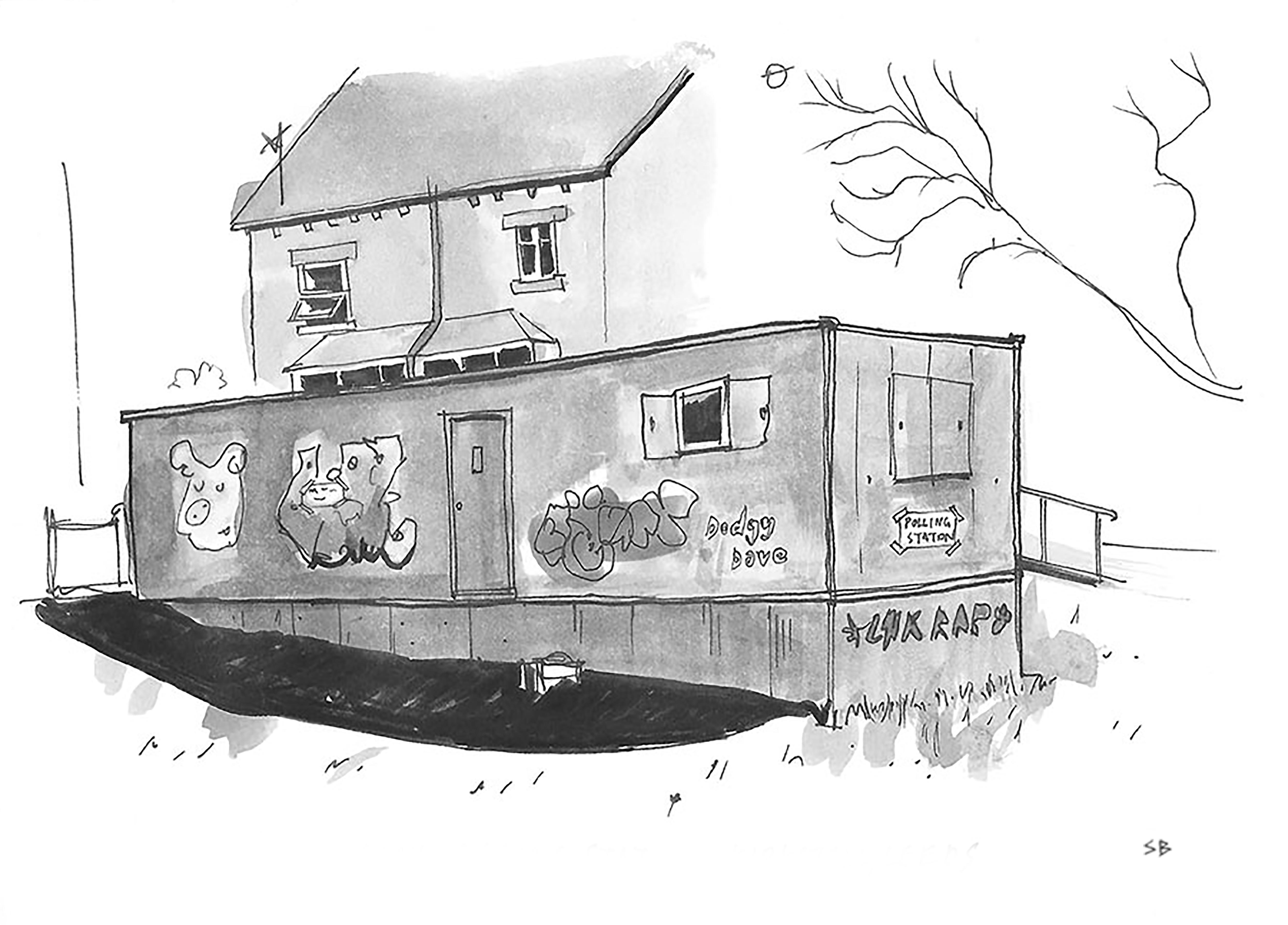 temp-temporary-polling-station-kirkstall-leeds-urban-sketch-pen-ink-watercolour-steve-beadle-art