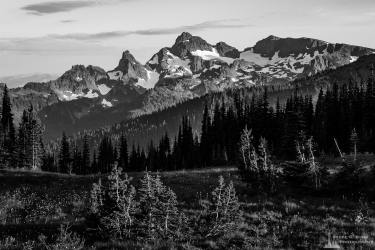 A black and white landscape photograph of the Cowlitz Chimneys as viewed from the alpine meadows in the Sunrise area of Mount Rainier National Park, Washington.