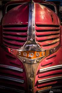 A mobile photograph of an old Dodge flatbed truck in Edison, Washington.