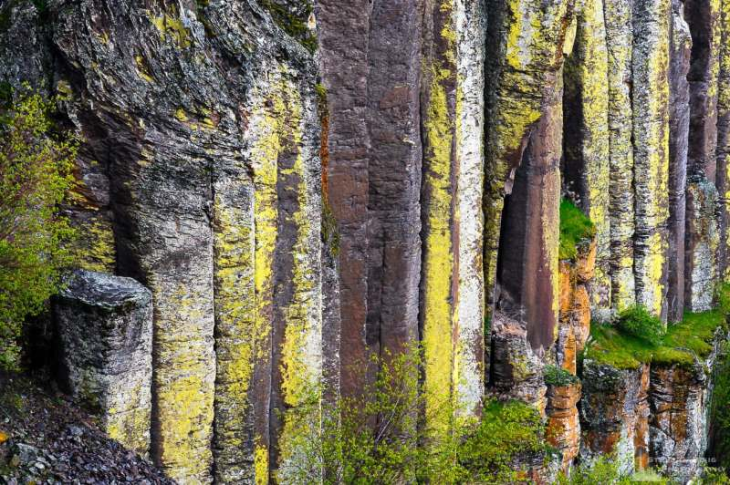A landscape photograph of columnar basalt as viewed along the upper Potholes Coulee in the Quincy Lakes Unit of the Columbia Basin Wildlife Area in Grant County, Washington.