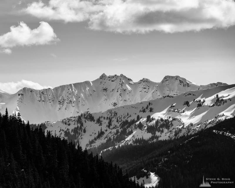A black and white landscape photograph of the snow covered mountain ranges in the Goat Rocks Wilderness Area as viewed from Gifford Pinchot National Forest Road 1284 in Lewis County, Washington.
