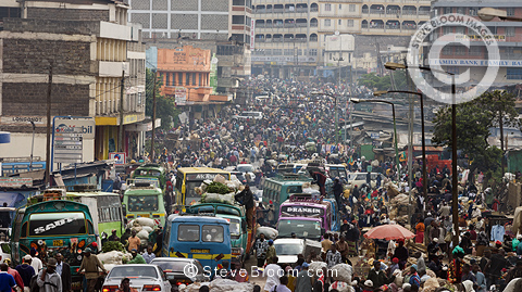 Crowded street market scene in the Majengo district of Nairobi, Kenya, Africa.
